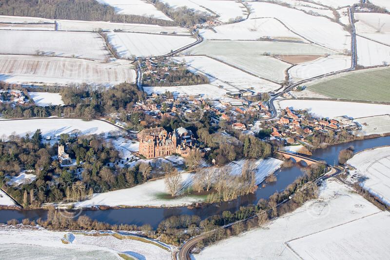 Aerial photo of Kelham in the snow.