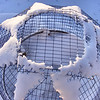 A Snow Star.<br /> My wife brought this to my attention and we thought it was interesting the way the snow had stuck to the top of the cage. It is setting on the cistern top out side the south windows.
