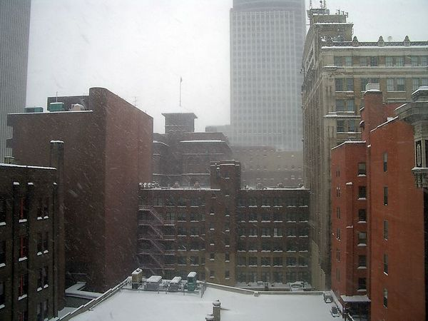 "<br><br><font size=""3"">The snow covered area in the foreground is the top of the parking structure shown in the previous photo.</font>"