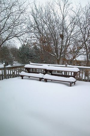 "<br><br><font size=""3"">Early evening, the picnic tables on my deck were snowbound.</font>"