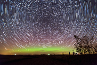 This is a stack of nearly 100 images during a faint but noticeable aurora display on April 23, 2012.