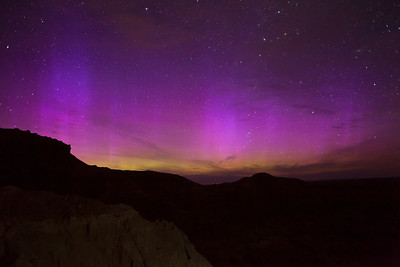 Incredible purple and green auroras as seen from Badlands National Park in the early morning of June 17th, 2012.