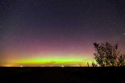 A faint aurora display on April 23, 2012 as seen from western Iowa.