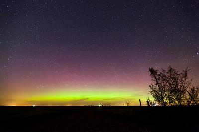 A faint aurora display on April 23, 2012 as seen from western Iowa.