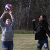 Features at Veterans Memorial Park in Dracut.  Madison Beauchesne, 15, left, and her friend Zaily Pacheco, 15, both of Lowell, try playing volleyball. JULIA MALAKIE/LOWELLSUN
