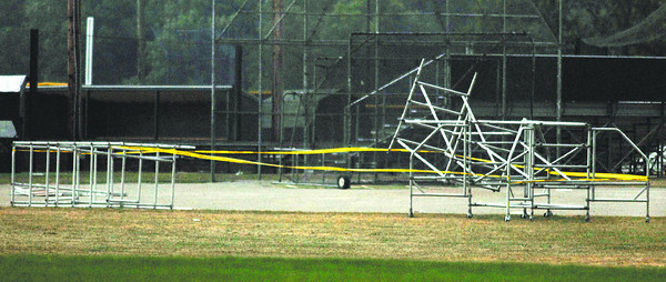 High winds from thunderstorms toppled this scaffolding injuring one person Friday afternoon in Pendleton.
