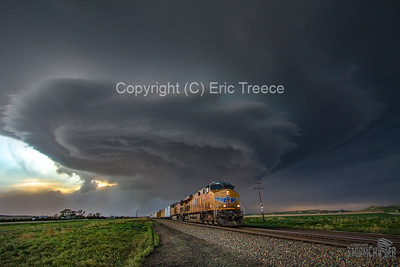Union Pacific Locomotive and Supercell Storm