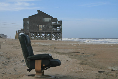 Probably a movie theater seat from one of the houses gone out to sea!  Looking north.