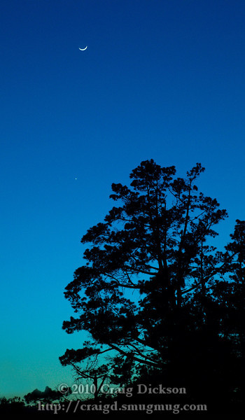 Crescent moon and Venus just after sunset