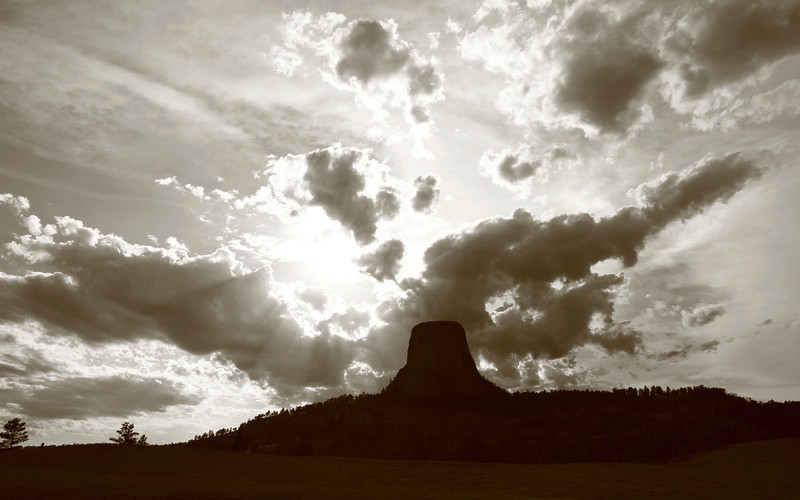 Sunset over Devil's Tower National Monument, WY