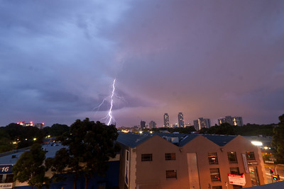 Sydney Lightning Jan 8 2012. Lightining over the city as a storm passes through. Missed focus on this one.