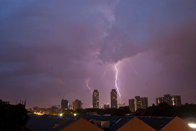 Sydney Lightning Jan 8 2012. Lightining over the city as a storm passes through.