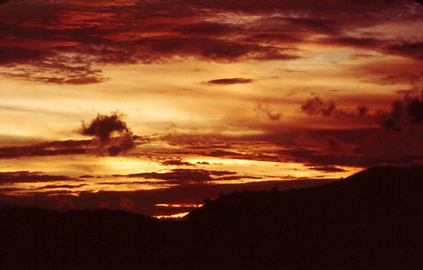 Sunset on the Gulf of Thailand in 1970.<br /> The sunsets were spectacular almost every evening.