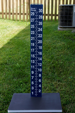 """The Snow Gauge, and it's board... all primed and ready for """"SnowCam"""" work during Winter... assuming we have snow. (It will be located in a different location, however)"""