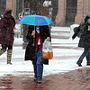 "Kathy Herrmann uses an umbrella to walk back to work at the  downtown courthouse on Pearl Street.<br /> People in downtown Boulder go about their day during a Valentine's Day snow on Thursday.<br /> For more snow photos and a video, go to  <a href=""http://www.dailycamera.com"">http://www.dailycamera.com</a>.<br />  Cliff Grassmick  / February 14, 2013"