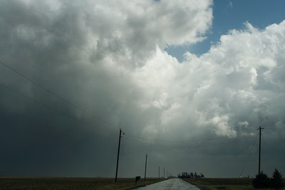 March 8 - Tornado Warned Storm, S Macon County IL (note funnel between power lines)