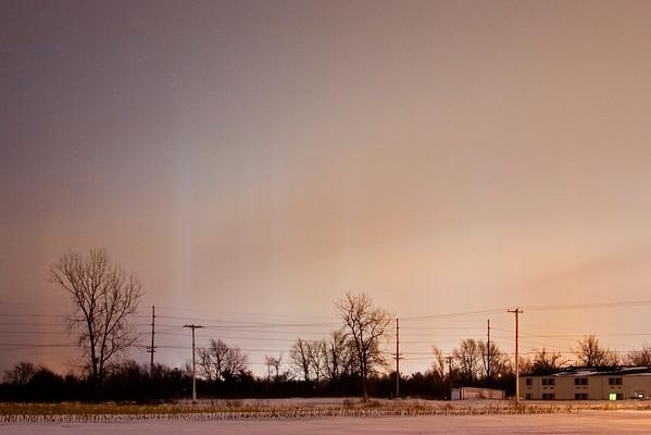 January 8 - Light Pillars, Decatur Illinois