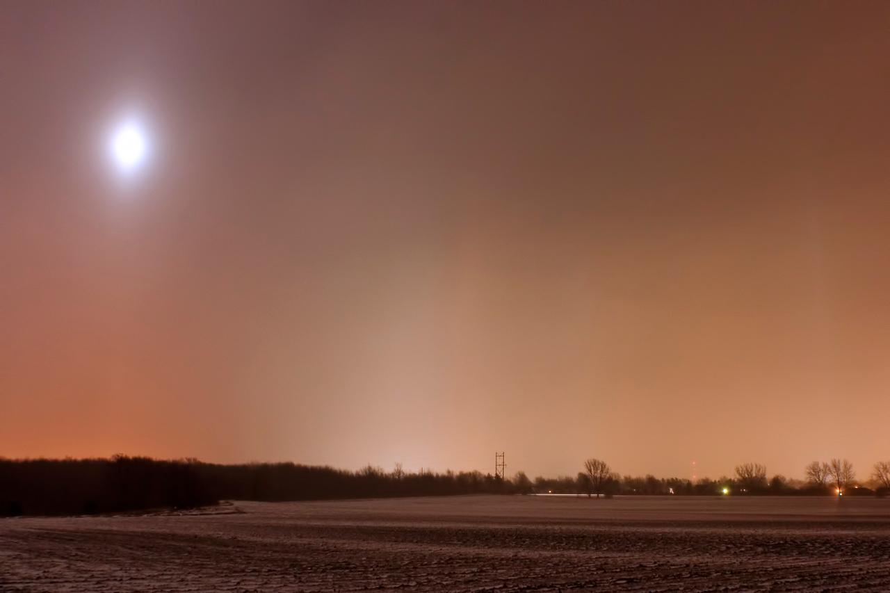 January 12 - Light Pillars in Blowing Snow, Macon County Illinois