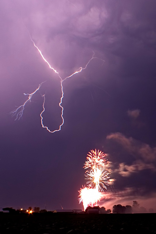 June 30 - Fireworks with Lightning at Arthur Illinois