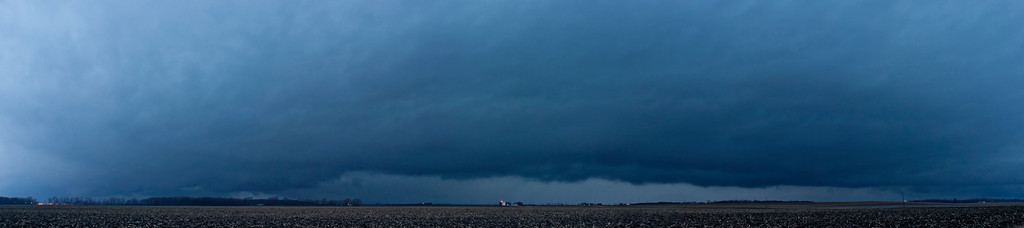 January 29 - Squall line panorama with areas of rotation that was formerly tornado warned in SW IL but lost the warning only to then go severe warned again shortly after this shot, Logan County IL