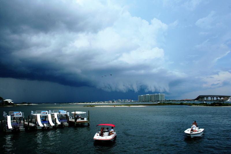 Storm clouds moving in from the north.