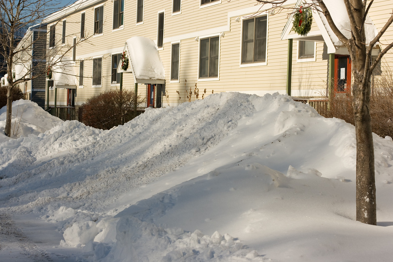 Snow plowed high in our parking lot.