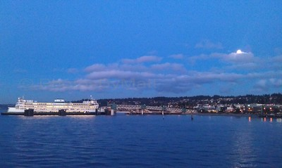 Mukilteo, WA ferry terminal  with Moon.
