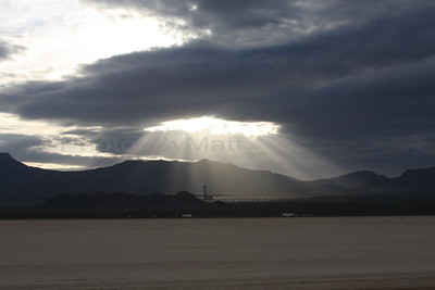 Sunset shining through the clouds. Primm, NV.