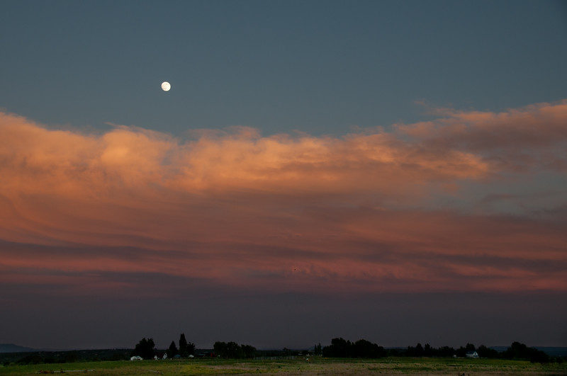 6/21/13 Smoke from the combined West Fork and Windy Pass fires makes for a good sunset under a full moon on summer solstice night.