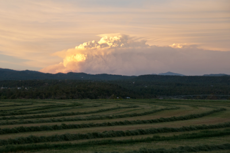 6/21/13 Smoke plume from the combined West Fork and Windy Pass fires that threaten the town of Southfork CO. Photo taken from Durango, 102 miles away from Southfork.