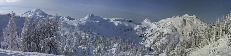 Panorama of the Bagley Lakes backcountry from inbounds. From Left to Right: Mt Baker, Table Mountain, Mt Herman. January 2008