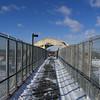 On the footbridge