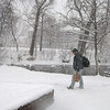 Clifford Dirgo walks near the Boulder Creek  on Friday morning March 19, 2010.<br /> Photo by Nicholas Duckworth/ Boulder Camera