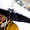 Carol Waksal, visiting from New Jersey, listens and participates in a photography class in the midst of a winter storm that was expected to drop near a foot of snow throughout the day Friday, March 19, 2010.  <br /> <br /> KASIA BROUSSALIAN