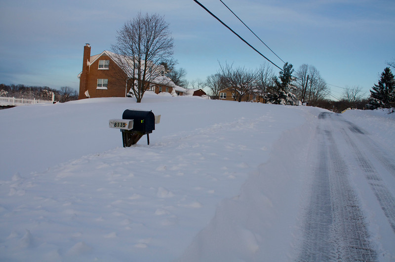 Plenty of snow by mailbox