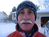 I was heading off to work as Brad was finishing up a run the morning after the blizzard. As usual Brad's mustache and eye lashes freeze up.