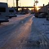Sunrise in a parking lot.
