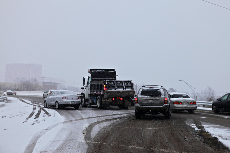 Car verses TDOT snow plow, who wins?   From the other side it looked like only a minor accident.