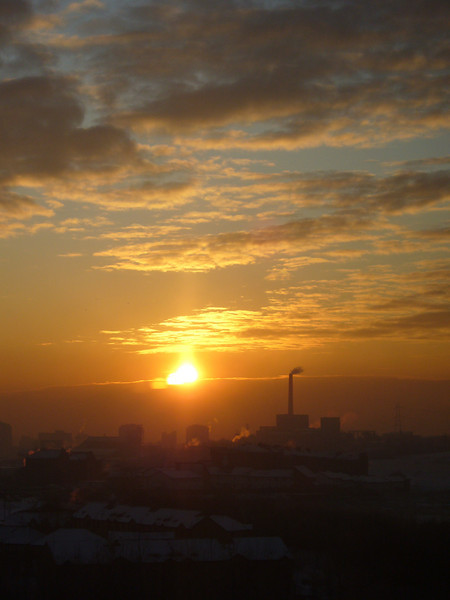 January 2010. Sunset over Glasgow city centre, taken from my front room window in Springburn.