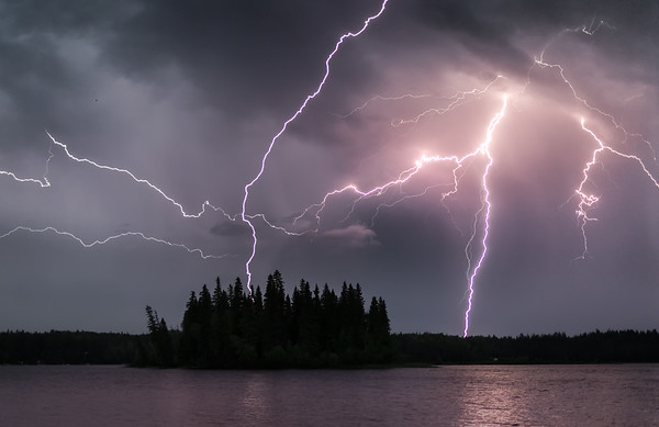 Ness Lake Lightning at Dusk