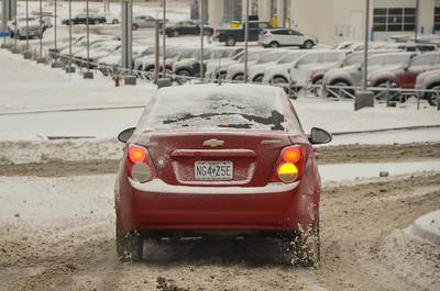 Slushy road conditions in Raytown, Feb. 2021