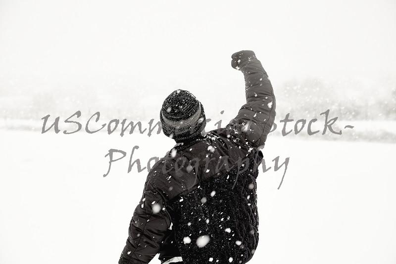 man in snowstorm