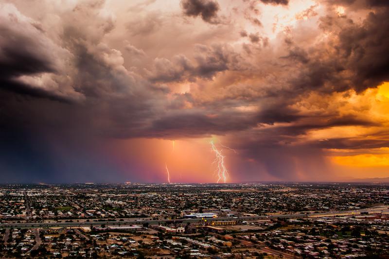 Lightning over South Tucson