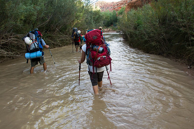 The Escalante River usually runs about knee deep with a channel about thirty feet across and fairly clear water, remember this for later on this trip. We have to make a few crossings over the channel to make it to our campsite.