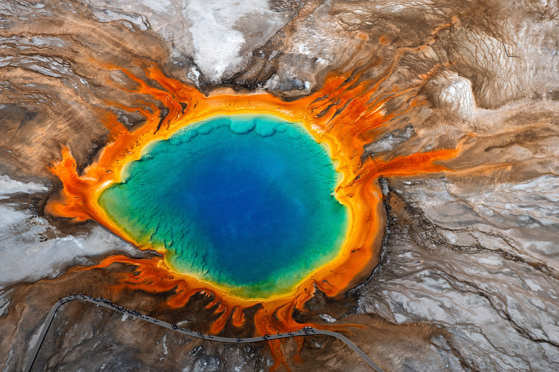 Yellowstone National Park, Grand Prismatic, Aerial