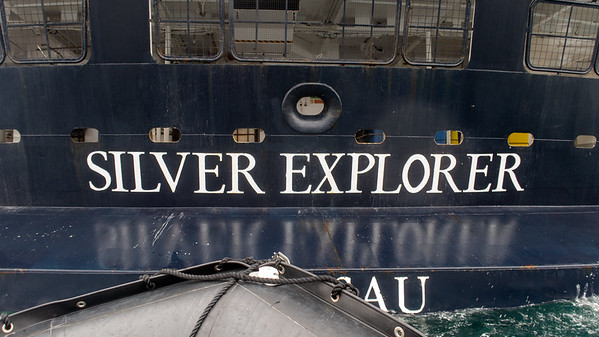 A close up view of the stern of the Silver Explorer