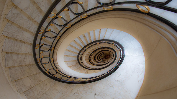 Looking down the oval stair case in the Alvear Palace Hotel located in the Recoleta.