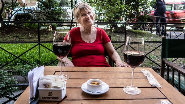 Linda enjoying a glass of Argentinian Malbec on arrival to Buenos Aires.