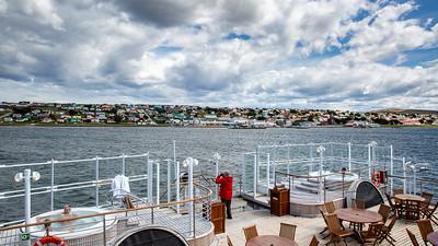 Aboard the Silver Explorer in Stanley Harbor.