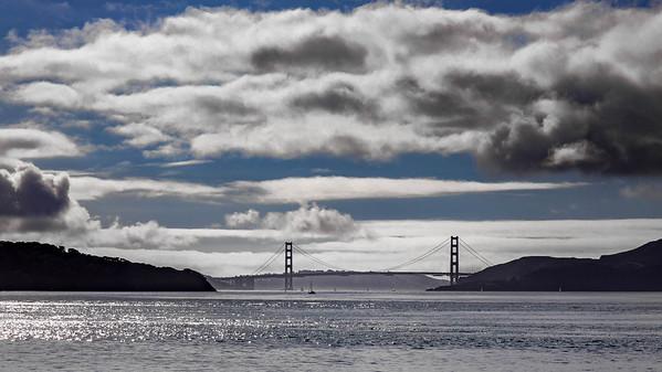Golden Gate Bridge framed between the Marin Headlands and Angel Island as seen from the San Rafael Ferry.